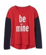 Gap Kids Girls T-shirt 6 7 8 Navy Red Colorblock Long Sleeve Crew Love G... - $17.95