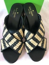 KATE SPADE NIB WALTER RAFFIA BLOCK HEEL DRESS SANDALS NATURAL BLACK 8M - $125.00