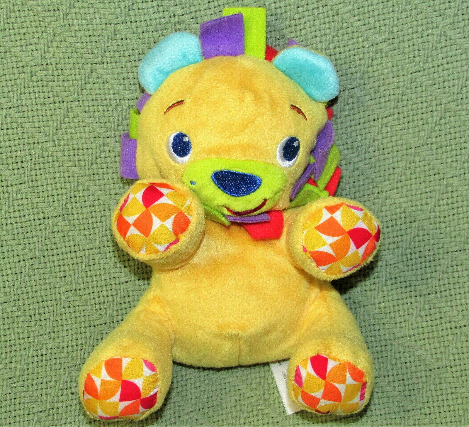 "Primary image for 6"" BRIGHT STARTS LION TAGGIES RATTLE STUFFED ANIMAL BABY TOY PLUSH YELLOW BLUE"