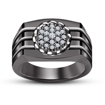 Mens Band Ring Round Cut White Sim Diamond 14k Black Gold Plated 925 Pure Silver - $89.27