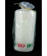 "Christmas Ho Ho Ho Candle Holiday White Red Green Wax 6"" - $7.99"