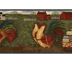 Roosters & Shaker Houses Wallpaper Border Chesapeake Wallcovering GG54141B - $16.99