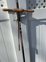 Primitive Vintage or Antique T Handle Wood Auger Barn Beam Hand Drill 7/... - $25.25