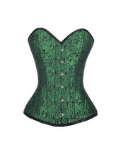 Green Black Brocade Gothic Burlesque Double Bone Waist Training Overbust... - $69.29+