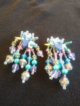 Vintage Fun Funky Dangling Mixed Bead Clip On Earrings - $10.00