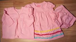 Sweet Girl's Size NB Newborn 3 Piece Circo Pink L/S Cardigan, Ruffled Dress & DC - $19.50