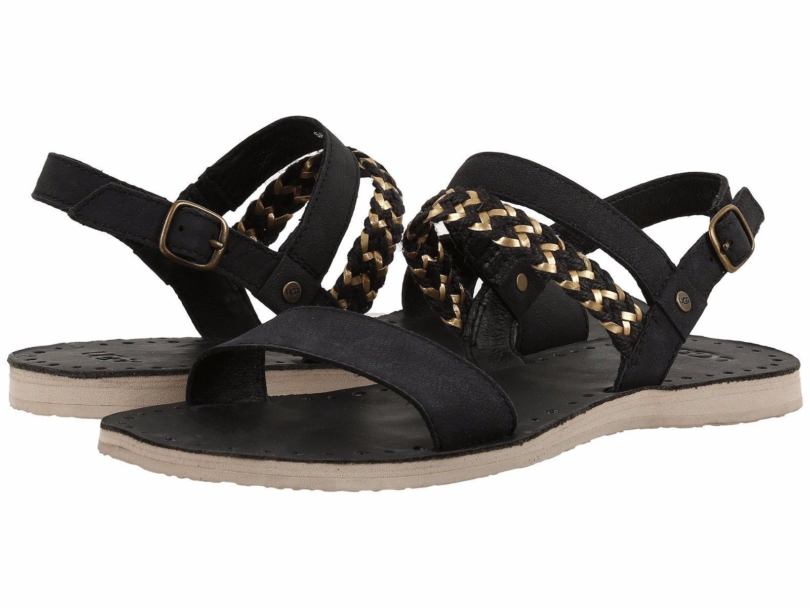 Women's UGG® Elin Leather Sandals, 1015035 Sizes 5-9 Black Authentic