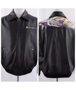 US Navy Black Leather Bomber Patriotic Jacket The Bradford Exchange Men ... - $96.74