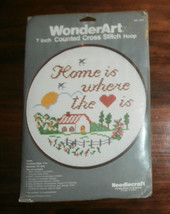 "Home is Where the Heart Is WonderArt, Unopened, 7"" diameter Cross Stitch - $8.79"