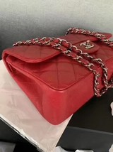 AUTHENTIC CHANEL RED CAVIAR QUILTED JUMBO DOUBLE FLAP BAG SILVER HARDWARE image 6