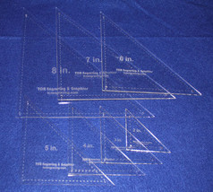 """7 Pc Triangle - 2""""-8""""  With Seam Clear Acrylic 1/8""""-Laser Cut Quilt Temp... - $34.99"""
