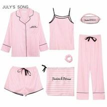 Pink Women 7 Pieces Pajamas Sets Faux Silk Striped Pyjama Sleepwear Set ... - $48.65