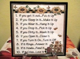 Framed Everyday Rules Home Decor Wall Hanging/S... - $6.00
