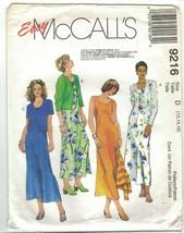 McCall's 9216 Knit Cardigan Jacket & Tank Dress Pattern Easy Size 12 14 16 Uncut - $8.81