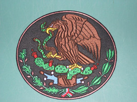 MEXICO COAT OF ARMS CREST FLAG MEXICAN BIKER BLACK SEW-ON BACK PATCH LAR... - $75.00
