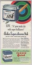 1948 Parker Ink Quink Superchrome Parker 51 Solv-X Print Ad Advertisemen... - $12.59
