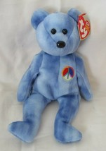 Ty Beanie Baby Peace Bear 11th Generation Hang Tag 2003 Blue Version - $7.91