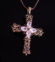 Gothic sterling cross necklace - Vintage white topaz pendant - womens 16... - $125.00
