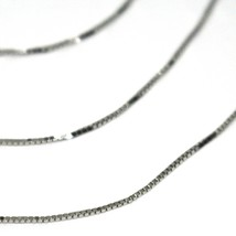 18K WHITE GOLD CHAIN NECKLACE 0.5 mm MINI VENETIAN LINK 24 INCHES MADE IN ITALY image 2
