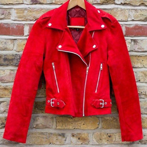 QASTAN WOMEN'S NEW SHORT BODY RED WESTERN FRINGE SUEDE LEATHER JACKET WWJ87 image 2