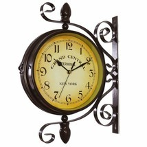 Nice Analog Wall Clock Two Sided Wrought Iron Black Industrial Vintage S... - $99.00