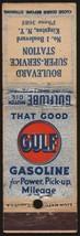Vintage matchbook cover GULF gasoline oil Boulevard Service Station King... - $8.09