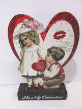 Vintage Style Valentines Day Glitter Wood Sign Small Children Decor Deco... - $17.99