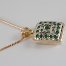 SOLID 18K ROSE WHITE GOLD MEDALLION DIAMOND EMERALD PENDANT NECKLACE WITH CHAIN image 2