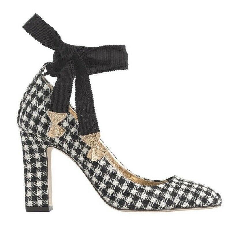 J Crew Womens Wool Houndstooth Black & White Ankle Wrap Pumps Size 8 - $109.61