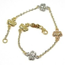 Gold Bracelet White Yellow Rose 18K 750, Butterflies, Domed, Hammer, 17.... - $284.83