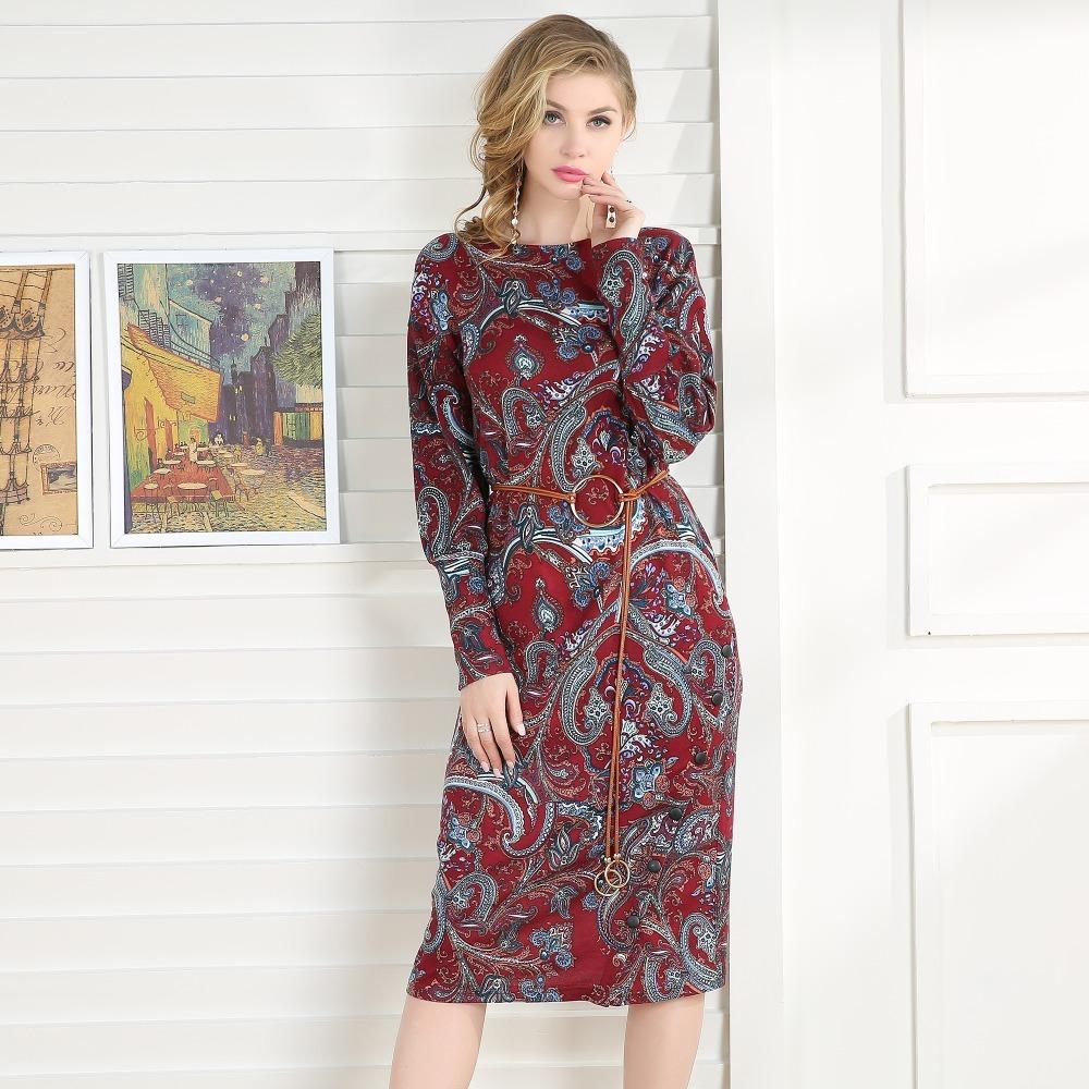 Talever Women Dress Casual Long Puff Sleeve O-Neck Plus Size Dresses Ladies Spri image 5
