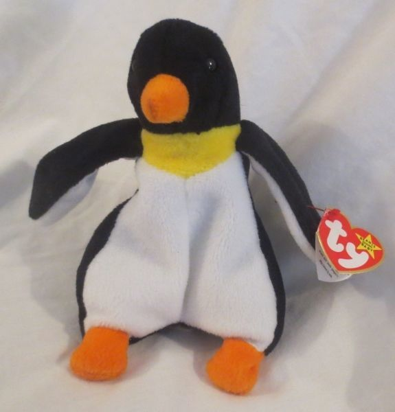 Ty Beanie Baby Waddle the Penguin 4th generation Hang tag PVC Filled Faded TT