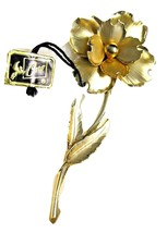 Large Vintage CORO Brooch Gold tone Flower in Original John Wanamaker Box Tags image 3