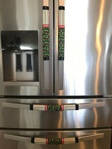 Refrigerator Door Handle Cover Set of 4 Red and Green Cherries Theme 13L... - $25.98