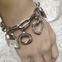 Vintage, Silver Tone 5-charms 7in Bracelet - $11.35