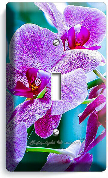 VIOLET ORCHID FLOWERS 1 GANG LIGHT SWITCH WALL PLATES FLORAL BEDROOM ROOM DECOR