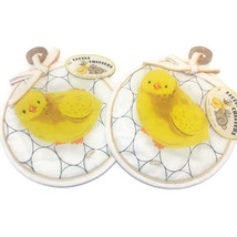 Yellow Chicken With Eggs Pot Holders Wooden Hanger Little Critters HBI L... - $11.83
