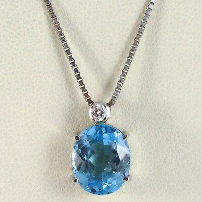 18K WHITE GOLD NECKLACE, PENDANT WITH OVAL BLUE TOPAZ & DIAMOND, VENETIAN CHAIN