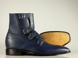 Handmade Men's Blue Leather High Ankle Monkstrap Boots image 3