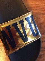 PINK Victoria's Secret WVU Slides Gold and Blue Women's Size 9.5 W image 3