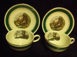 Pair Of Homer Laughlin Rhythm Windmill Scene Teacup & Saucer Sets - $29.70