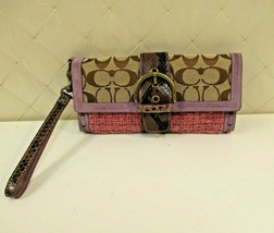 Coach Wristlet Tweed Purple Suede Wallet Buckle Handbag Clutch Monogram C - $67.54