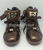 Michael Kors Fulton High Top Sneakers 9 Shoes Boots Bronze MK logo Signa... - $188.09