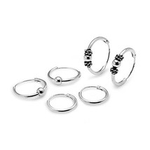 Hoops & Loops Sterling Silver 10mm, 12mm & 14mm Polished Bead Bali Bead - $24.09