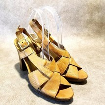 Coach Womens Halina Sz 8.5 B Brown Leather Slingback Open Toe Sandals Heels - $54.99