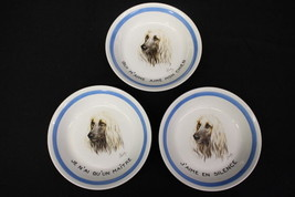 "Set of 3 Vintage Hand Painted AFGHAN HOUND 8"" Porcelain Bowls w/French, ... - $99.99"