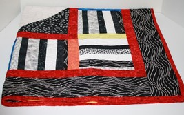 "Handmade LAP QUILT Baby Blanket Red Black White Yellow Batik Fabric 44"" ... - $57.05"