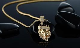 """DG Men's Gold,Stainless-Steel.20"""" Cuban Curb Necklace.Lion Head Pendant + BOX - $10.78"""