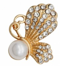 Gold Clear Rhinestone Pearl Butterfly 18mm 20mm Snap Charm for Ginger Snaps - $6.19