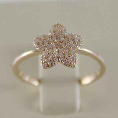 SOLID 18K ROSE GOLD BAND STAR RING LUMINOUS SMOOTH WITH ZIRCONIA MADE IN ITALY